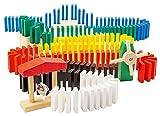 Playtastic Dominosteine: Domino-Set mit 480 farbigen Holzsteinen und 11 Streckenbau-Elementen (Dominosteine, Spielzeug)