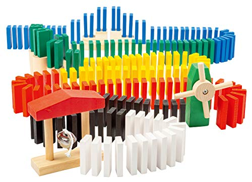 Playtastic Dominosteine Spielzeug: Domino-Set mit 480 farbigen Holzsteinen und 11 Streckenbau-Elementen (Domino-Holzspielzeuge)