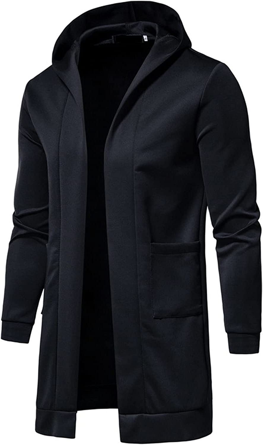 BEUU Mens Hooded Solid Long Trench Coat Plus Size Big and Tall Jacket Cardigan Fashion Long Sleeve Outwear Clothes