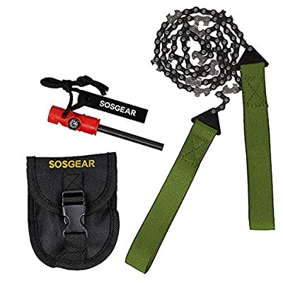 """SOS Gear Pocket Chainsaw – Best Survival Hand Saw in Pouch, Premium Fire Starter with Compass for Survival Gear, Camping, Hunting & Tree Trimming – Green Straps, 36"""" Chain"""