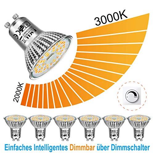 EACLL LED GU10 Dimmbar Warmweiss 2000K - 3000K LED Leuchtmittel 6W 485 Lumen Glühbirnen, Stufenloses Kontinuierliches Dimmen Par16 Lampen. Lichtwinkel 120 Grad Warmweiß Licht Birnen, 6 Pack