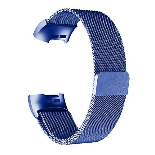 Idealeben Bracciale Sostitutivo Compatibile Charge 2/3 con Fascia Magnetica in Rete Traspirante in Metallo, Cinturino Sostitutivo, Cinturino Compatibile, Ricambio Orologio Regolabile,Blu
