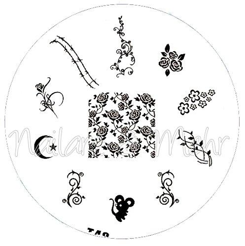 Pochoir de stamping # T 48 roses Souris Ranken Lune