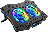 AICHESON Full RGB Lights Laptop Cooling Cooler Pad 2 Turbine Fans for 15.6-17.3 Inch Gaming...
