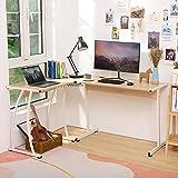 Z ZELUS 112X147X75CM Escritorio Esquinero en L de Ordenador para Oficina o Casa Mesa en L con Bandeja de Cables Mesa Escritorio en Forma de L para Estudios/Gaming (Roble)