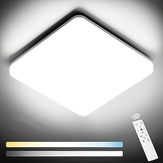 NIXIUKOL Plafonnier Led 24W, Luminaire Plafonnier avec télécommande, couleur de lumière et luminosité dimmable, IP54 Imper...