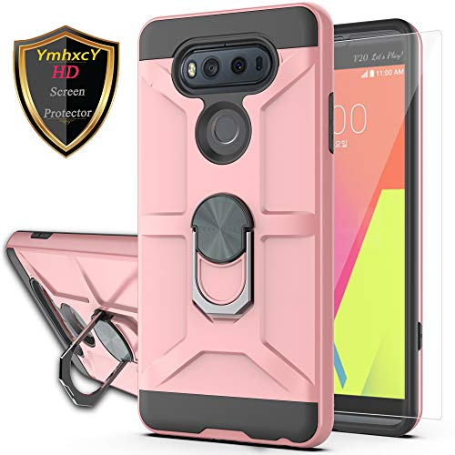 LG V20 Case LG VS995 Case,LG H990/LG LS997/LG H910 Case with HD Screen Protector YmhxcY 360 Degree Rotating Ring Kickstand Holder Dual Layers of Shockproof Phone Case for LG V20-ZS Rose Gold