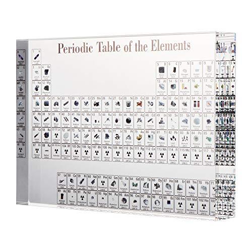 LMTXXS - Tabla periódica de acrílico con elementos para aprender química, manualidades para estudiantes, profesores químicos, regalos para niños, 17 x 12 x 2,4 cm