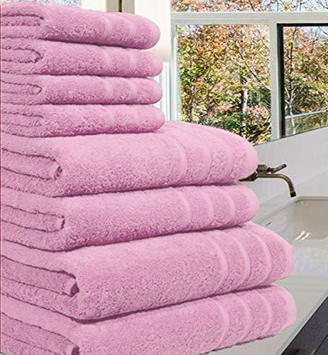 Toalla de lujo 100% de algodón egipcio, 8 piezas de 550 g/m² cada una en tamaño XL, algodón, Rosa, 8 Pieces Set