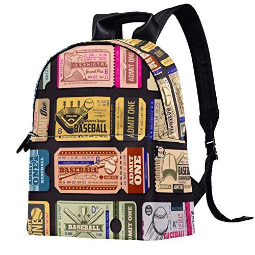 Leder-Rucksack, Baseball-Stempel, Schule, Uni, Büchertasche, Reise, Büro, Laptop-Rucksack für Damen und Herren