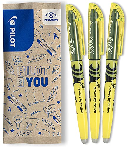 Pilot FLW538646Frixion light - evidenziatore cancellabile –colore giallo (confezione da 3)