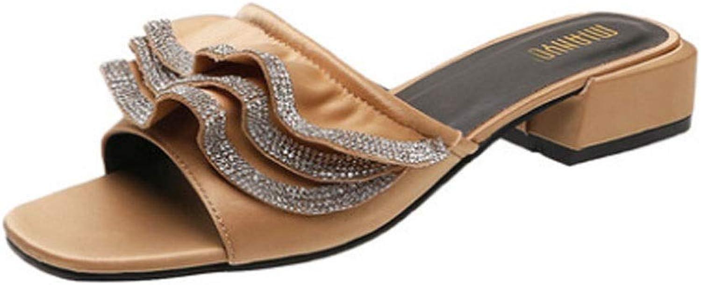 Flip Flop, Pantofole da Donna con Pantofole di Pizzo, oro (35-40)