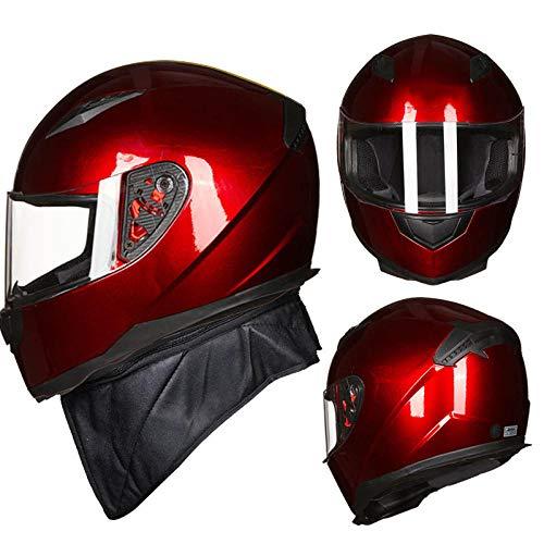 Rijhelm motorfiets anti-mist volledige helm elektrische auto helm met kraag verwijderbaar XL Rode Wijn