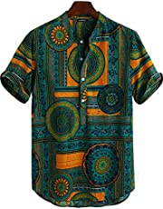 Etex Men's Vintage Floral Ethnic Shirts Summer Beach Dashiki Floral Casual Full Stiched