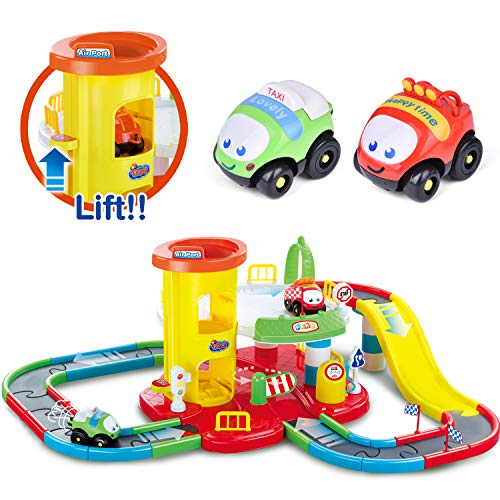 Image of Toy Garage Playset 27.2'' x 13.4'', Race Track Set for Toddlers with 2 Racer Cars, Stem Learning Toy Vehicle Playsets