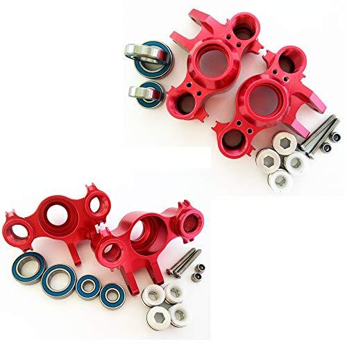 CrazyRacer Aluminum Steering Block Knuckle Arm -2PR Set Red Compatible with 1/10 Old E-REVO REVO 3.3 Summit E-MAXX T-MAXX 3.3 Slayer Pro 4X4 5334R