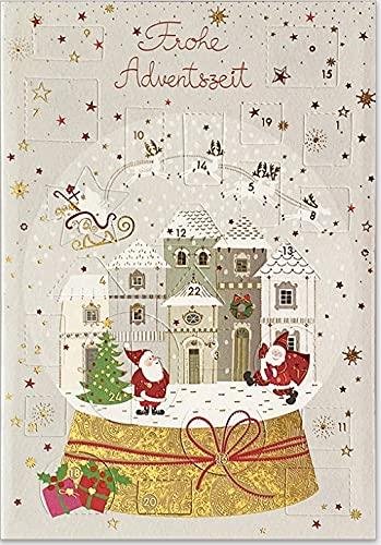 Carte avec calendrier de l'Avent et 24 petites portes – Belle carte de vœux avec enveloppe dorée, pour la période de l'Avent et pour Noël (village de Noël)