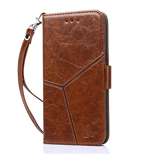 YEEGG Samsung Galaxy M20 Case, Flip Cover Leather Wallet Phone Case for Samsung Galaxy M20 (Brown)