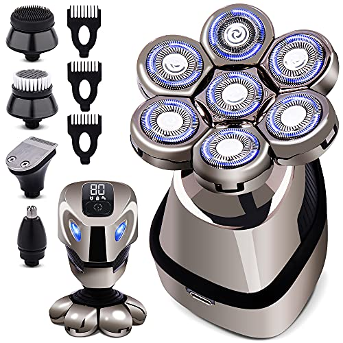 AidallsWellup 7D 5-in-1 Electric Head Shaver for Bald Men - Modern Design Head Shavers - Electric Men's Grooming Kit - Anti-Pinch, Cordless, and Rechargeable.