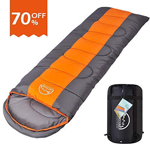 LATTCURE Sleeping Bag, Comfort Portable Lightweight Envelope Sleeping Bag Compression Sack Camping,Hiking,Backpacking,Traveling Other Outdoor Activities -Single,Orange+Grey,(75