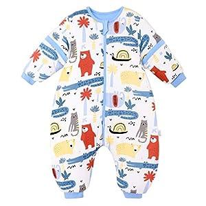 Saco de dormir para bebé con piernas de forro cálido, para invierno, de manga larga, con pies y zapatos de bebé, 3,5 tog…