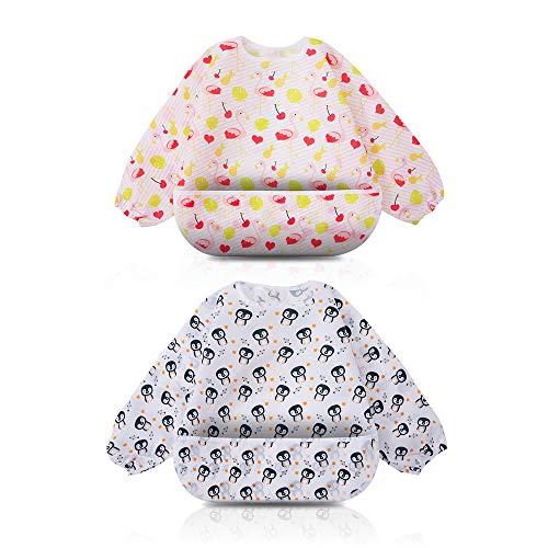 Little Dimsum Kinderslabbetjes met lange mouwen, waterdicht, verstelbare sluiting voor babys, peuters, met grote tas (6-36 maanden), 2 stuks Eén maat Penguin / Bear