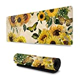Vintage Sunflower and Butterfly Gaming Mouse Pad XL, Extended Large Mouse Mat Desk Pad, Stitched Edges Mousepad, Long Non-Slip Rubber Base Mice Pad, 31.5 X 11.8 Inch