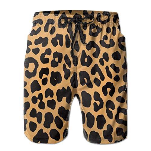 Cool Animal Leopard Print Men Fashion Swim Trunks Trajes de baño de Secado rápido Board Shorts con Bolsillo...