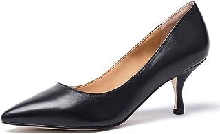 a0398b82c543ee Darco & Gianni Femme Chaussures Talons Noir Cuir Escarpins Sexy Pointus  Petit Talon Moyen De Bureau