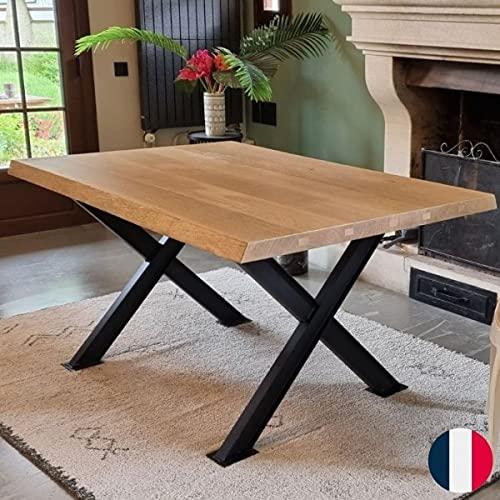 Commentfer - Pie de mesa de metal industrial color – Acero barnizado, medidas: 71 x 82 cm
