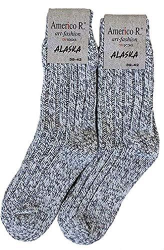 Americo R. Damen Herren Alaskasocken 2er Pack Graumeliert 39/42