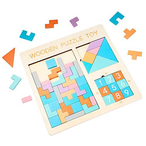 EXTSUD Holz Tetris Puzzle Tangram Puzzle Gehirntraining Spielzeug für Kinder, Holzpuzzle Box Gehirn Spiel Baustein Intelligenz pädagogisches Geschenk für Kleinkinder (Tetris)