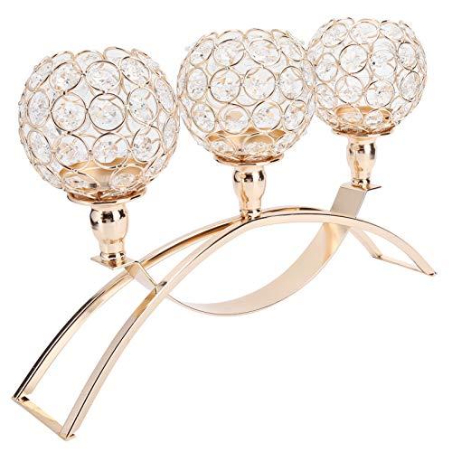 Candelabros de cristal de 3 brazos, candelabros de cristal, adornos para gabinetes de buffet, centros de mesa, para bodas, fiestas de...