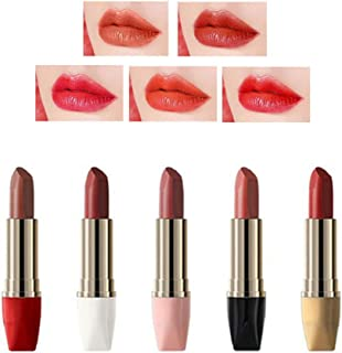 HIROCK Lápiz labial set 5 lápices labiales mate duradero hidratante antiadherente lápiz labial regalo de lápiz labial para...