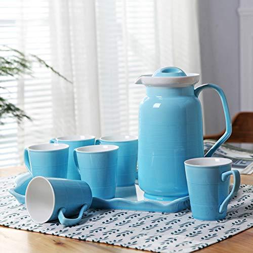 JYXJJKK Tasse en céramique Domestique avec 6 Morceaux,Ensemble Tasse Bouilloire-Bleu