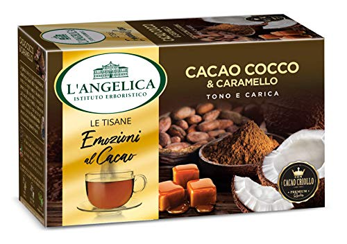 L'Angelica, Le Tisane Emozioni al Cacao, Tisana Funzionale con il Pregiato Cacao Criollo, Cocco e Caramello, Senza Lattosio, Senza Glutine - 15 Filtri - 10 Confezioni