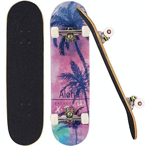 Sumeber Skateboard Double Kick Tricks Skateboard für Anfänger 7-lagige 31 Zoll Komplettes Skateboard mit ABEC 7 Lagern für Teenager Kinder Erwachsene als Geburtstagsgeschenk (Kokosnussbaum)