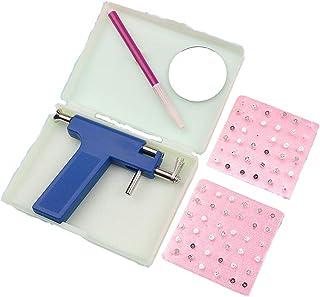 Ujuuu Professional Steel Ear Navel Body Piercing Gun Tool Kit with Box, Including 98Pcs Earring Studs