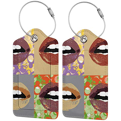 SIONOLY Luggage Tag with Privacy Cover,Dark Colored Lipstick On Different and Abstract Frames Pop Art Inspired Girlie Design,Baggage Labels, Suitcase ID Tags for Travel Suitcases Handbags,(4 pcs)