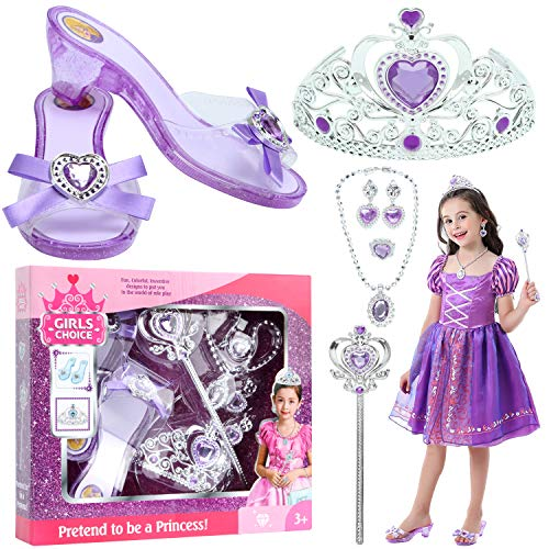 VGOFUN Girl Princess Dress up Shoes Role Play Shoes for Little Girls Toddler Age 3-6 (Purple)