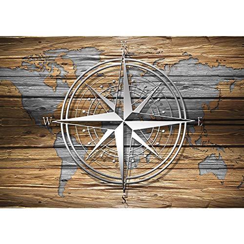 Vlies Fototapete PREMIUM PLUS Wand Foto Tapete Wand Bild Vliestapete - Holz Holzoptik Welt Kontinente Kompass - no. 2699, Größe:254x184cm Vlies