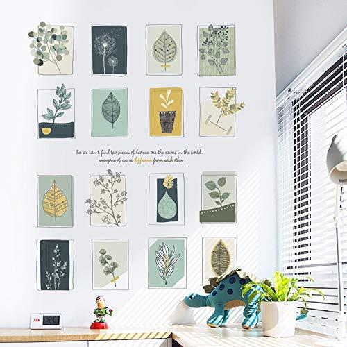 Sayopin Wandtattoo für Schlafzimmer, Pflanzen Fotorahmen Wandsticker als Wanddekoration für Wohnzimmer Kinderzimmer Wand Aufkleber 74x88cm | Deko Wandtattoo für Wand Schrank Küche Bad Fenster Flur