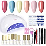 BORN PRETTY Juego de esmaltes de uñas de gel con luz UV de 48 W, lámpara LED de 6 colores, no Wipe Base Top Coat, herramientas de manicura, kit de manicura integrado con luz Set 5