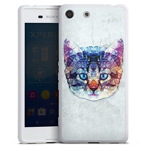 DeinDesign Silikon Hülle kompatibel mit Sony Xperia M5 Hülle weiß Handyhülle Regenbogen Abstrakt Katze