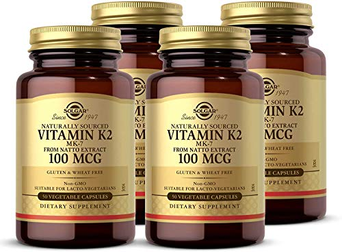 Solgar Vitamin K2 (MK-7) 100mcg, 50 Vegetable Capsules - Pack of 4 - Supports Bone Health - Natural Whole Food Source from Natto Extract - Non-GMO, Gluten Free - 200 Total Servings