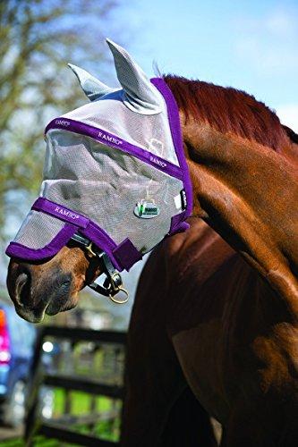 Fliegenmaske RAMBO Plus Horseware silver/purple Vollblut