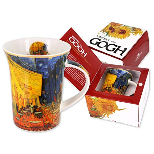 Carmani - Porcellana Tazza decorata con 'Terrazza del caffe la sera' di Vincent Van Gogh 350ml
