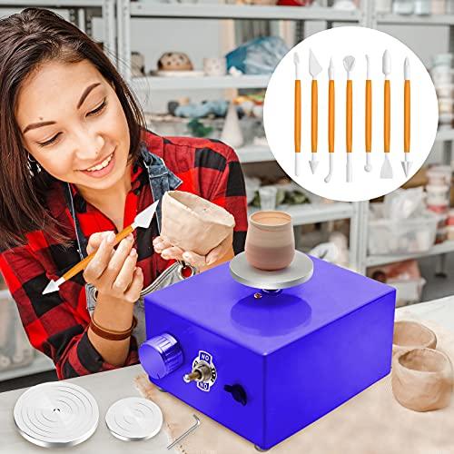 Mini Roue de Poterie, PaNt Machine à Tour de Potier Stable Tour de Poterie Électrique avec 6.5cm et 10cm Plateau Tournant Poterie Roue Machine avec Outils de Dressage, 0-300r/min Vitesse de Rotation