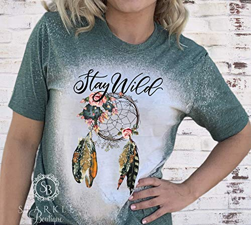 Bleached and Distressed Shirt Dreamcatcher Tee Stay Wild