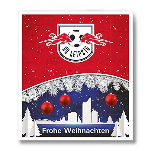 Premium Schoko-Adventskalender – Der lustige Weihnachts-Countdown bis Heilig Abend aus Fairtrade-Kakao (200 g) + Mannschaftsposter/Fanposter (RasenBallsport Leipzig)